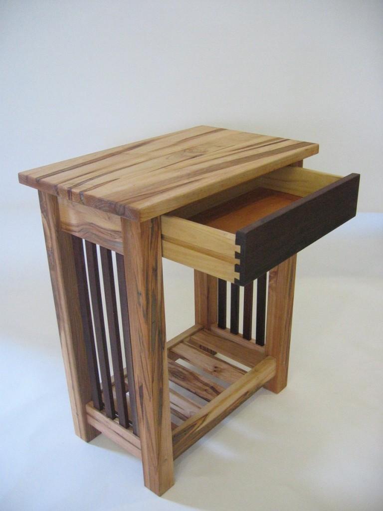 ambrosia maple  black walnut end table  futon designs - end table  maple magazine rack  pickets  drawer