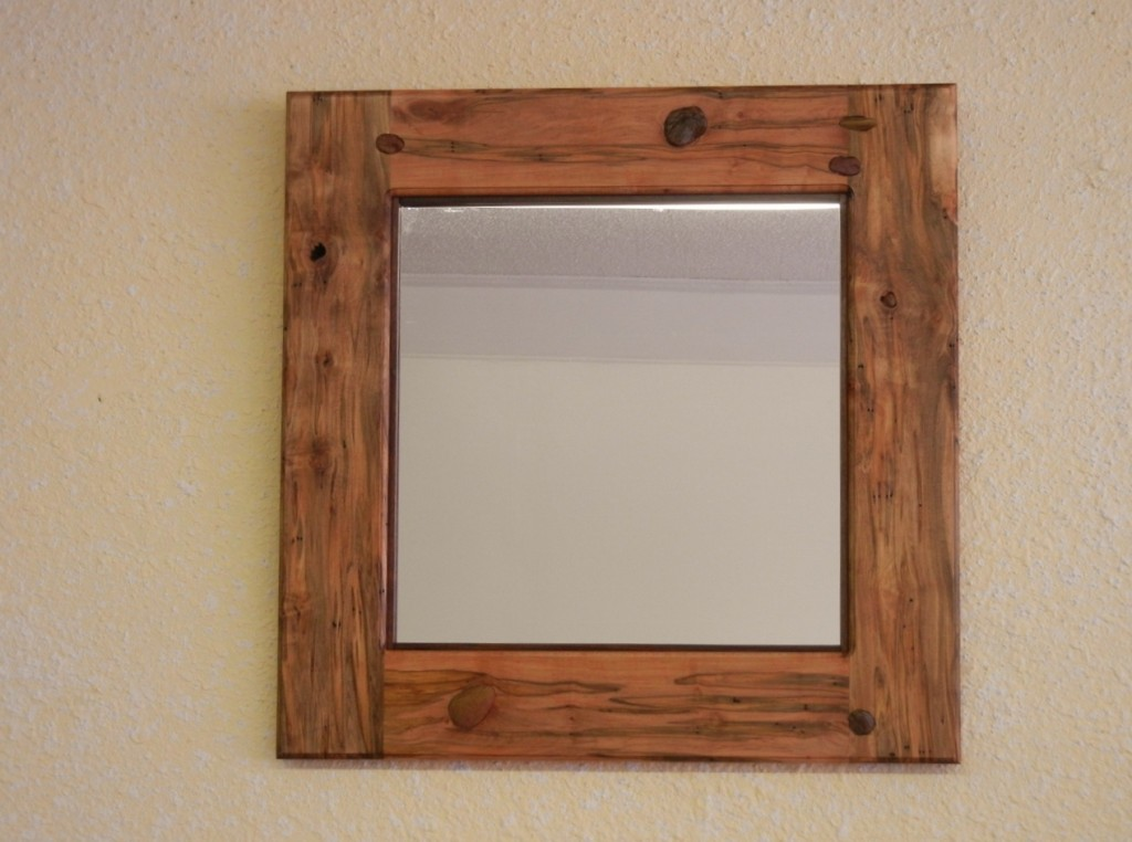 Rustic Mirror With Stone Inlay